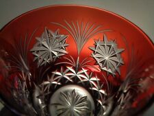 """AJKA Crystal RUBY RED Cut to Clear TUMBLER / GLASS """"SNOWFLAKES"""""""