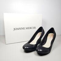 Joanne Mercer Jo Black Leather Closed Toe Wedge Shoes US 6.5 EUR 37