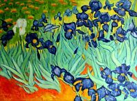 Quality Hand Painted Oil Painting, Van Gogh Field with Irises Repro, 36x48in
