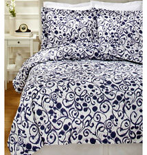Sferra Ironwork Queen Duvet Cover Sham Set Indigo Purple 300TC Cotton Sateen New