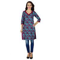 Baumwolle Top-Designer Kurta Indian Ethnischen Blau Kurti Frauen Tunika-Kleid