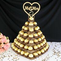 Mr&mrs en Bois Chocolat Cœur Dessert Présentoir Support Mariage Fête Décor +A