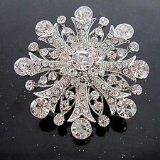 VINTAGE INSPIRED ANTIQUE SILVER PLATED RHINESTONE STATEMENT CLEAR ROUND BROOCH