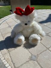 """Annette Funicello Collectible Teddy Bear Beige w/red bow Jointed 12"""""""