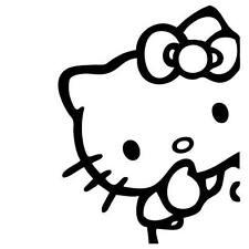 Hello Kitty Peeking, Vinyl Decal Sticker Car Van Laptop
