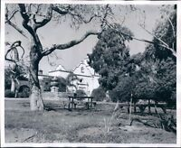 1951 Trees Picnic Tables Mission San Luis Rey de Francia California Press Photo