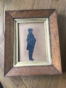 Antique Birds Eye Maple Frame w/ Silhouette of Man