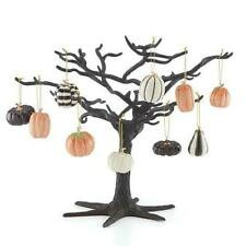 "Lenox ~ Miniature Pumpkin 10 piece Ornament Set & Black 11"" Tree Halloween Nib"
