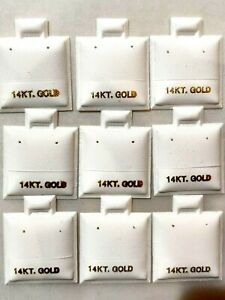 100 White 14K 14KT Gold Puff Earring Display Cards Wholesale Lot Jewelry Store