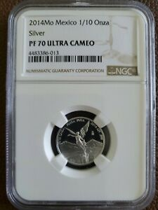 NGC PF 70 ULTRA CAMEO - 2014 Mexico 1/10 TENTH OZ SILVER LIBERTAD PROOF COIN