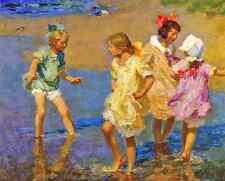Water Lilies by E Potthast 8x10 Print Summer Girls Play Water Sea Beach Art 174