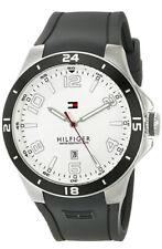 Tommy Hilfiger 1790863 Blake White Dial Gray Black Silicone Strap Men's Watch