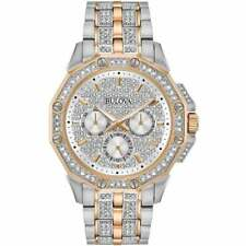 Bulova Men's Watch Octava Quartz Swarovski Crystal Two Tone Bracelet 98C133