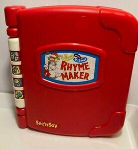 VINTAGE MATTEL See 'n Say 1997 Dr.Seuss Rhyme Maker Talking Teach Talk Stories