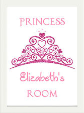 PERSONALISED NAME PRINCESS ROOM PINK GLITTER CHILDRENS BEDROOM PRINT POSTER A4