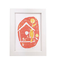 Birdhouse Bird and Flowers 5x7 Block Print Pink and Yellow Wall Art Gift for Mom