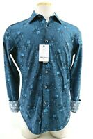 Robert Graham Edmar NWT $198 Men's Dress Shirt Size Small Abstract Gingham Teal