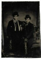 Tintype Photograph Two Men Wearing Coats and Hats w/ Ice Skates Gay Interest