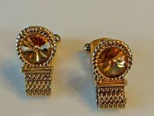 VTG Retro 1960s SWANK Estate Gold Tone Topaz Yellow Glass Mesh Wrap Cufflinks