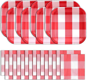Havercamp Red and White Party Bundle | Dinner Plates and Luncheon Napkins | Grea