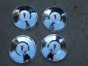 Vintage 1970's Pontiac dog dish hub caps, set 4, NOS!  GTO, Firebird, LeMans