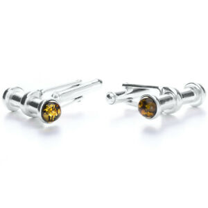 925 Sterling Silver Genuine Baltic Amber Cufflinks Free Gift Bag