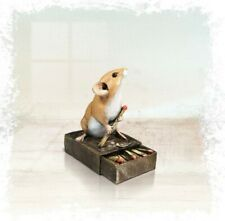 More details for richard cooper studio mice bronze resin mouse on matchbox ornament 258br new