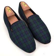 ORVIS Green Blue BLACKWATCH PLAID Wool Evening Smoking Slippers ENGLAND - 7