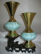 Hand Painted Delftware Made in Holland Delft & Brass Accents Perfect Pair
