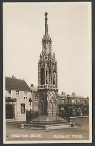 Postcard Waltham Cross near Hoddesdon Hertfordshire shops Eleanor Cross early RP