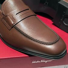 Ferragamo Penny Loafers 9.5 D Men's Pebbled Brown Leather Dress Casual Moccasin