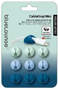 BlueLounge CableDrop Mini Adhesive Cable Clips, Ombre Blue, Pkg/9