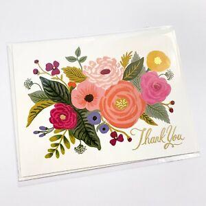 "RIFLE PAPER CO. Thank You Card & Envelope - ""JULIET ROSE"" Floral Gold Foil A2"