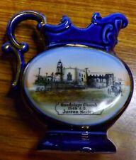 1910s Wheelock SOUVENIR CHINA JUAREZ MEXICO ~ COBALT BLUE Church & Town Square