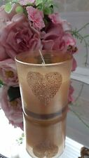 Landon Tyler Gold Frosted Glass Vanilla Fragranced Candle Jar Heart Glitter New!