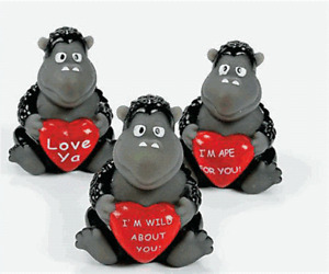 Valentine Gorillas Set of 3  (Free Shipping with 6 or more items)