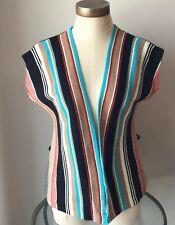 Vtg Unbranded Multi Colored Striped Sleeveless Sweater Vest Size 12