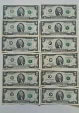 12 note $2 Two Dollar Bills FROM ALL 12 Districts Complete set UNCIRCULATED  W02