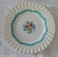 MINTON bone china ARDMORE #5363 Salad Plate white floral turquoise gold rim #4