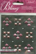STUDS Bling Pink Rose Metallic Pyramid Square Jolee's Stickers Crafts Scrapbook
