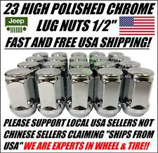 "23 Chrome Jeep Lug Nuts 1/2""-20 Fits Wrangler TJ YJ XJ KJ KK ZJ MJ JK JKU +Spare"