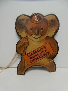 VINTAGE CADBURY CHOCOLATE CARDBOARD ADVERTISING SIGN RACING KOALA GAME SHOW BAG