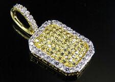 "Yellow Gold Finish Pillow Canary Simulated Diamond White Border Pendant Brass 1"""