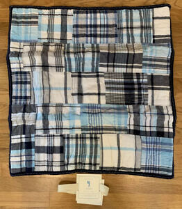 Pottery Barn Kids Madras Quilted Sham European Square Blue Navy Light White-FAST