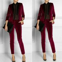 Burgundy Velvet Ladies Suits Trouser Formal Business Party Women's Office Work
