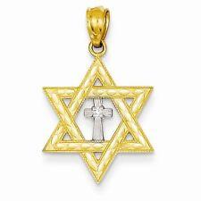 14K TWO-TONE GOLD & .01CT DIAMOND STAR OF DAVID & CROSS CHARM / PENDANT