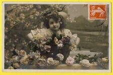 cpa Belle carte de BONNE ANNEE pour 1910 Jeune Fille Chapeau Fleurs ROSES