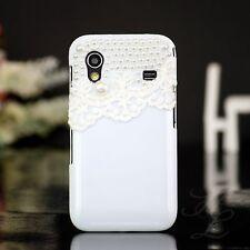 Samsung Galaxy ACE S5830 Hard Case Handy Schutz Hülle Etui Perlen Weiß Bumper 3D