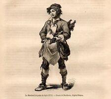 Stampa antica MERCANTE AMBULANTE di PELLI di CONIGLIO 1869 Old Print