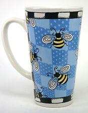 Alicia Tormey Oversized Stoneware Bug Me Coffee Tea Mug Cup Bees Blue Cartoon